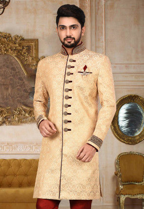 Woven Art Silk Jacquard Sherwani in Light Beige