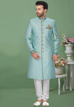 Woven Art Silk Jacquard Sherwani in Light Blue