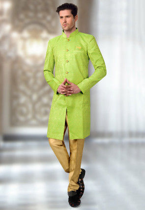 Woven Art Silk Jacquard Sherwani in Light Green