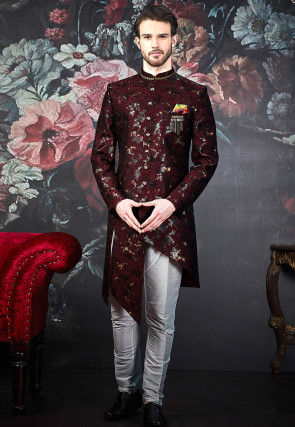 Woven Art Silk Jacquard Sherwani in Maroon and Multicolor