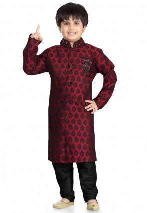 Woven Art Silk Jacquard Sherwani in Maroon