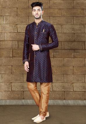 Woven Art Silk Jacquard Sherwani in Navy Blue