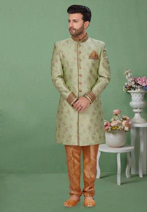 Woven Art Silk Jacquard Sherwani in Pastel Green