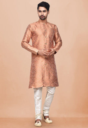 Woven Art Silk Jacquard Sherwani in Peach