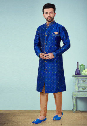 Woven Art Silk Jacquard Sherwani in Royal Blue