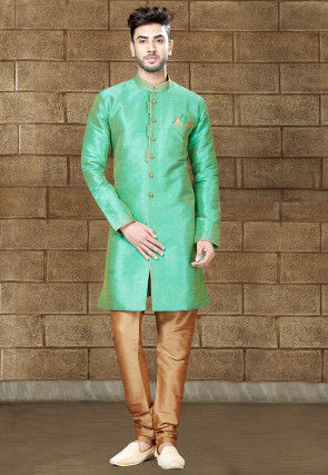 Woven Art Silk Jacquard Sherwani in Sea Green