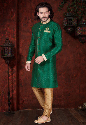 Woven Art Silk Jacquard Sherwani in Teal Green