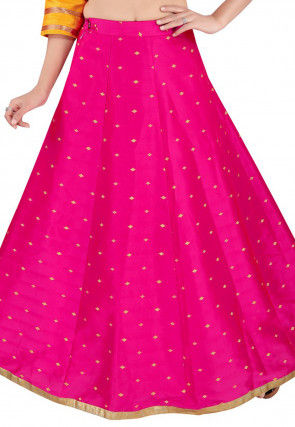 Woven Art Silk Jacquard Skirt in Fuchsia