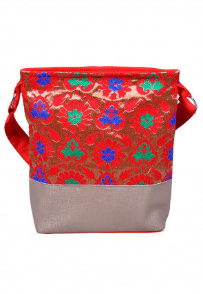 Woven Art Silk Jacquard Sling Bag in Red