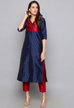Woven Art Silk Jacquard Straight Kurta in  Navy Blue and Red