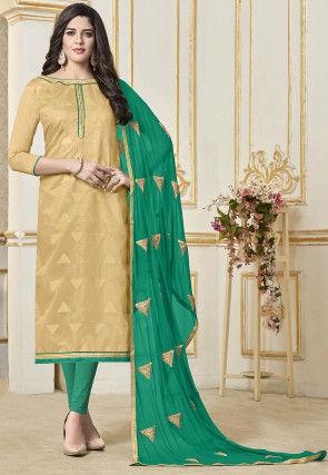 Woven Art Silk Jacquard Straight Suit in Beige