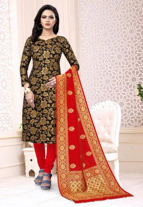 Woven Art Silk Jacquard Straight Suit in Black
