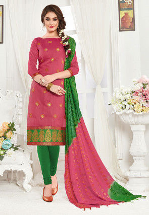 Woven Art Silk Jacquard Straight Suit in Coral Pink
