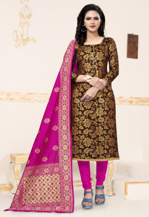 Woven Art Silk Jacquard Straight Suit in Dark Brown
