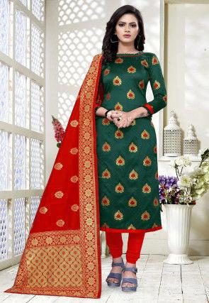 Woven Art Silk Jacquard Straight Suit in Dark Green