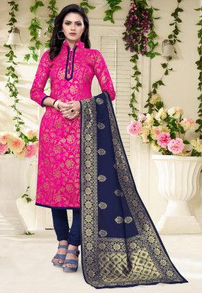 Woven Art Silk Jacquard Straight Suit in Fuchsia