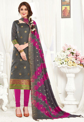 Woven Art Silk Jacquard Straight Suit in Grey