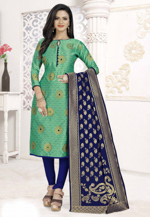 Woven Art Silk Jacquard Straight Suit in Light Teal Green