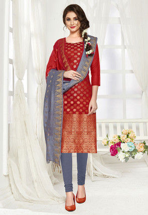 Woven Art Silk Jacquard Straight Suit in Maroon