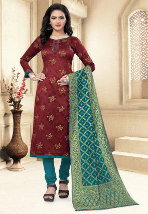 Woven Art Silk Jacquard Straight Suit in Maroon