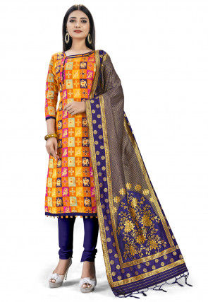 Woven Art Silk Jacquard Straight Suit in Multicolor
