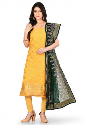 Woven Art Silk Jacquard Straight Suit in Mustard