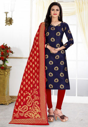 Woven Art Silk Jacquard Straight Suit in Navy Blue