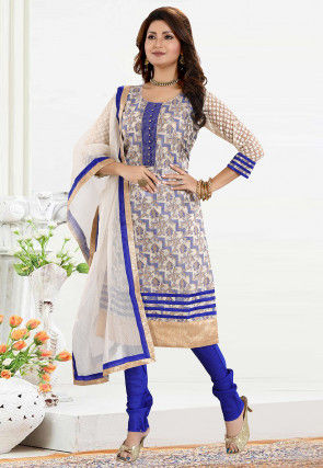 Woven Art Silk Jacquard Straight Suit in Off White and Blue
