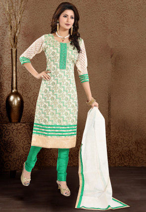 Woven Art Silk Jacquard Straight Suit in Off White and Green