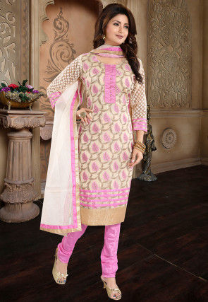 Woven Art Silk Jacquard Straight Suit in Off White and Pink