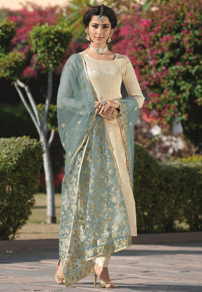 Woven Art Silk Jacquard Pakistani Suit in Off White