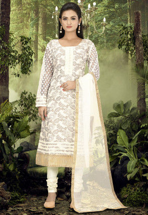Woven Art Silk Jacquard Straight Suit in Off White