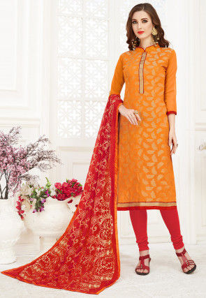 Woven Art Silk Jacquard Straight Suit in Orange