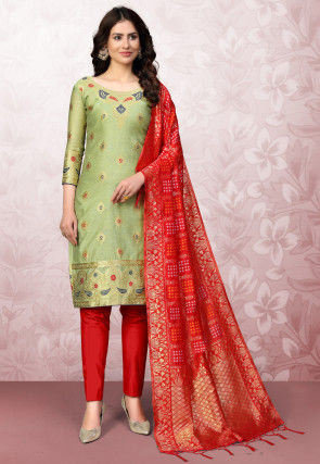 Woven Art Silk Jacquard Straight Suit in Pastel Green