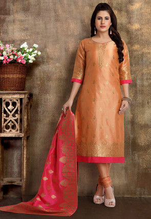 Woven Art Silk Jacquard Straight Suit in Peach