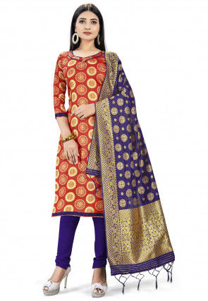 Woven Art Silk Jacquard Straight Suit in Red