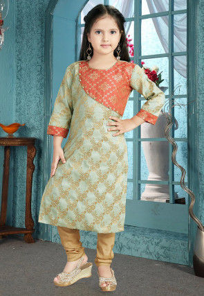 Woven Art Silk Jacquard Straight Suit in Sea Green and Orange