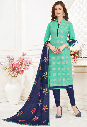 Woven Art Silk Jacquard Straight Suit in Sea Green