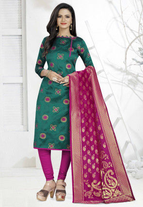 Woven Art Silk Jacquard Straight Suit in Teal Blue