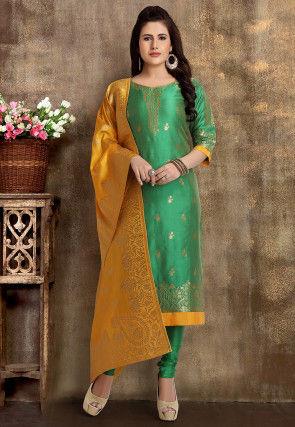 Woven Art Silk Jacquard Straight Suit in Teal Green