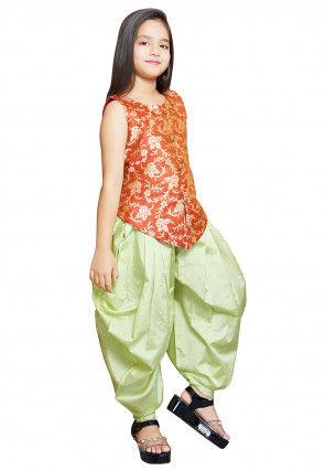 Woven Art Silk Jacquard Top N Dhoti Set in Orange