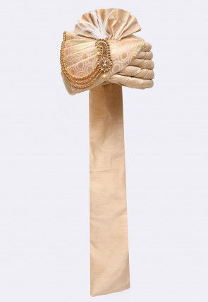 Woven Art Silk Jacquard Turban in Beige