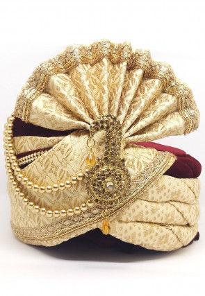 Woven Art Silk Jacquard Turban in Light Beige and Cream