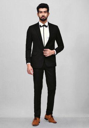 Woven Art Silk Jacquard Tuxedo in Black
