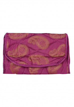 Woven Art Silk Jacquard Utility Pouch in Magenta