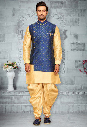 Woven Art Silk Kurta Pajama Set in Beige