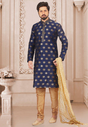 Woven Art Silk Kurta Set in Blue