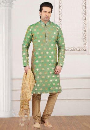 Woven Art Silk Kurta Set in Pastel Green