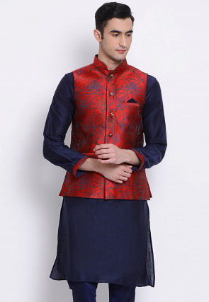 Woven Art Silk Kurta with Jacket in Blue and Red