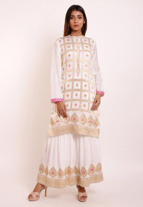 Woven Art Silk Kurti in Off White